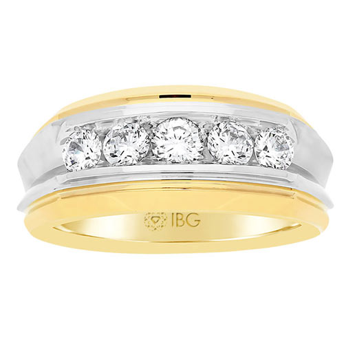 14k Two-tone Gold Men's 1 ct tw Diamond Five-Stone Wedding Band
