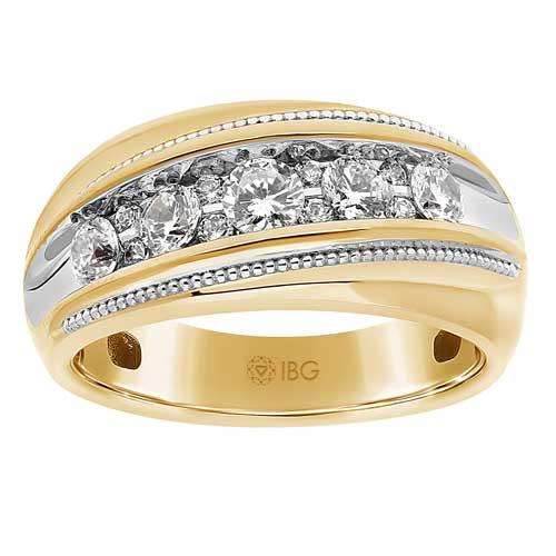 Gem on Gem 14k Yellow Gold Men's 1 ct tw Diamond Ring Arched Milgrain