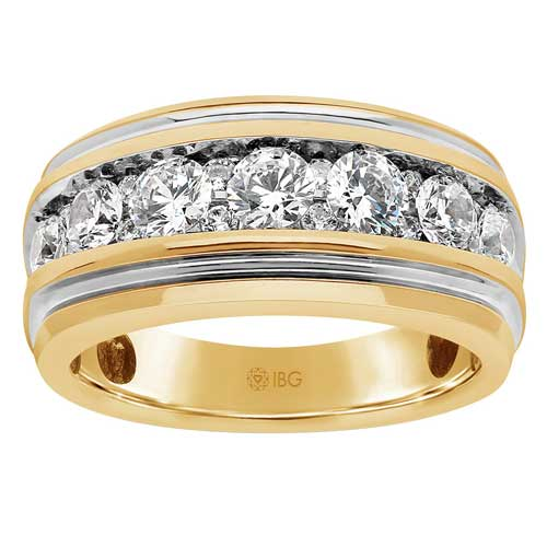 Gem on Gem 14k Yellow Gold Men's 1.75 ct tw Diamond Ring with Rhodium