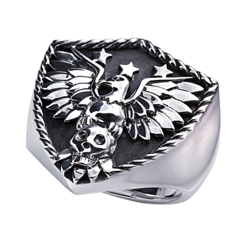 Sterling Silver Eagle Shield Ring with Black Oxidized Finish