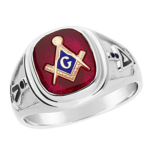 Sterling Silver Masonic Ring with Red Stone and Notched Shank