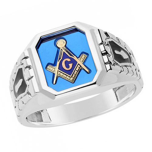 Sterling Silver Cobblestone Masonic Ring with Yellow Emblem