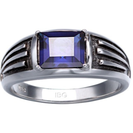 Sterling Silver 8mm Created Sapphire Ring