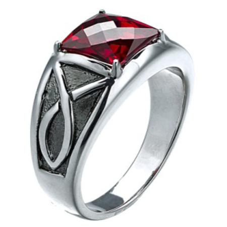 Sterling Silver Men's 8mm Created Garnet Ring