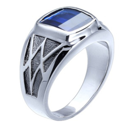 Sterling Silver 9.5mm Barrel Cut Created Sapphire Ring
