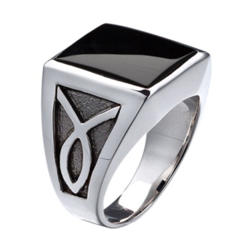Sterling Silver 14mm x 12mm Cushion Onyx Ring