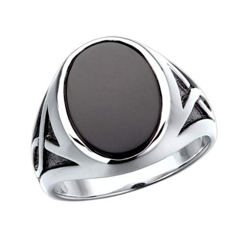 Sterling Silver Jumbo Oval Onyx Ring