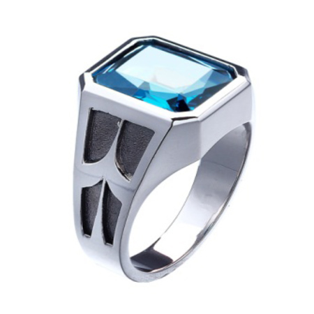 Sterling Silver Men's Blue Topaz Ring