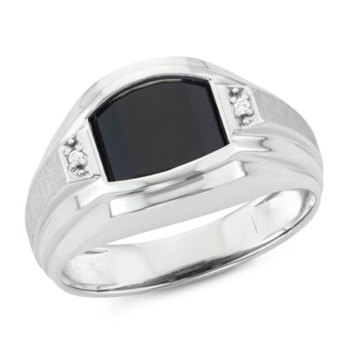 Sterling Silver Men's Slender Black Onyx Ring with Diamonds