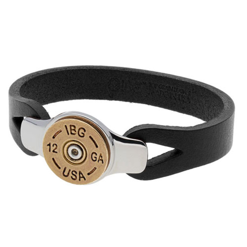 Sterling Silver 8.5in Bronze Shotgun Shell Black Leather Bracelet