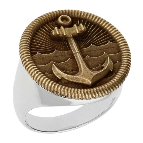 Sterling Silver and Bronze Anchor Ring