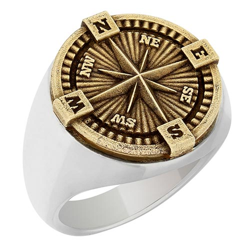 Sterling Silver and Bronze Compass Ring