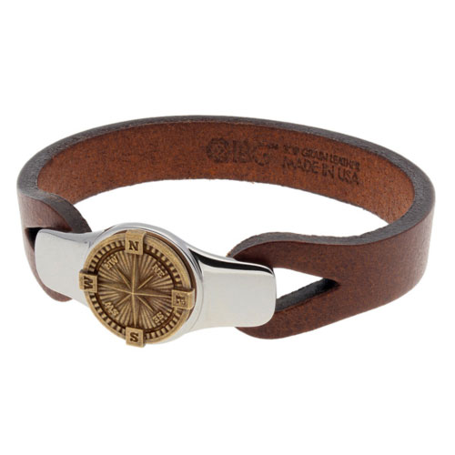 Sterling Silver 8.5in Bronze Compass Brown Leather Bracelet