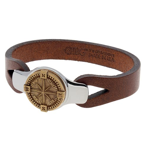 Sterling Silver 7.5in Bronze Compass Brown Leather Bracelet