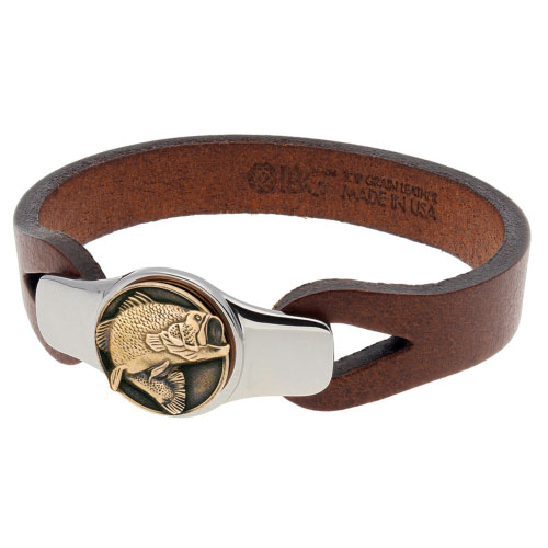 Sterling Silver 8.5in Bronze Bass Fish Brown Leather Bracelet