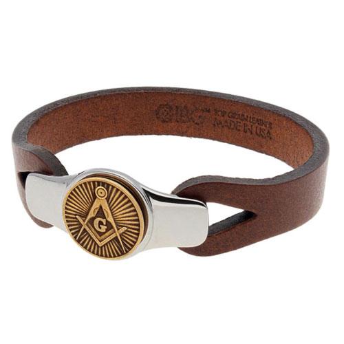 Sterling Silver 8.5in Bronze Brown Leather Masonic Bracelet