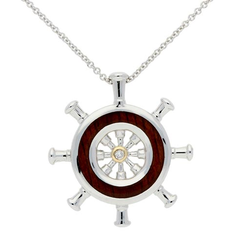 Sterling Silver 14k Yellow Gold Wood Diamond Ship Wheel Necklace