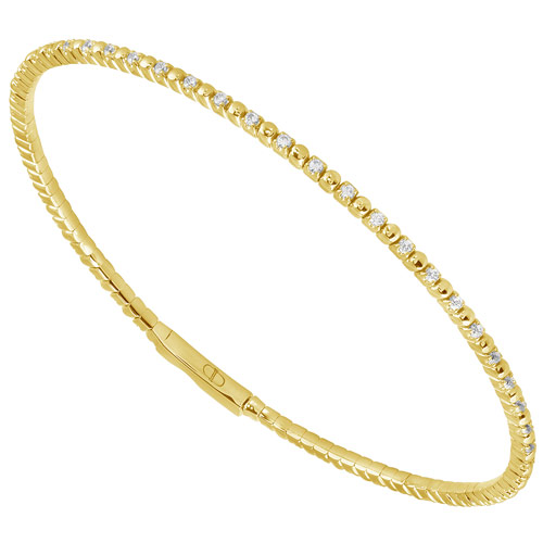 14k Yellow Gold 1/2 ct tw Diamond Flexible Bangle Bracelet