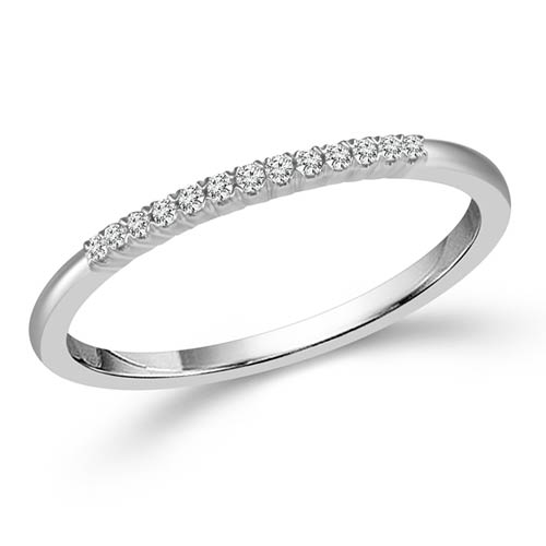 10k White Gold .06 ct tw Diamond Stackable Ring