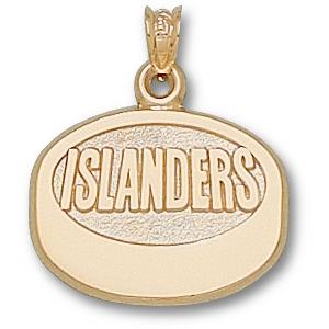 New York Islanders Puck Pendant 5/8in 10k Yellow Gold