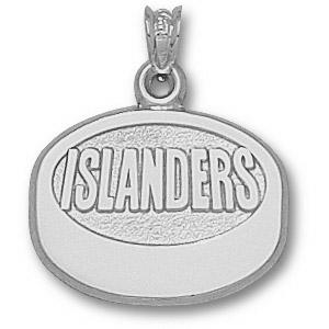 New York Islanders Puck Pendant 5/8in Sterling Silver