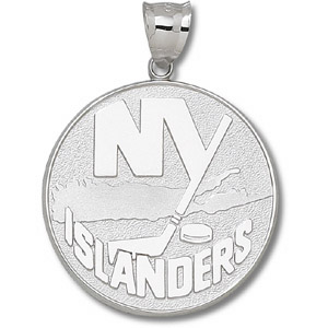 Sterling Silver 1 1/2in New York Islanders Giant Round Pendant
