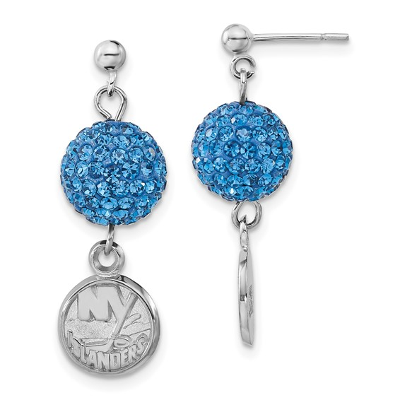 Sterling Silver New York Islanders Crystal Ovation Earrings