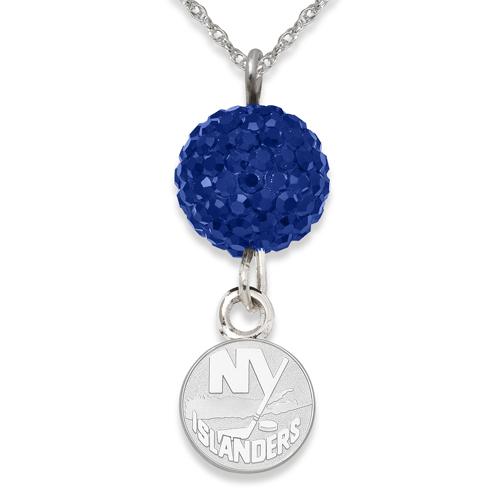 Sterling Silver New York Islanders Crystal Ovation Necklace