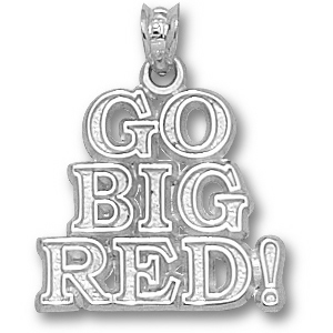 Indiana Hoosiers 5/8in Sterling Silver Go Big Red Pendant