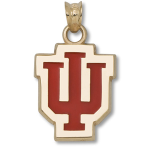 10kt Yellow Gold 5/8in Indiana University IU Enamel Pendant