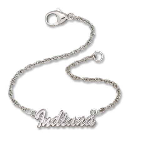 Sterling Silver 7in Indiana University Script Bracelet