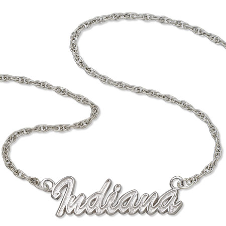 Sterling Silver 18in Indiana University Script Necklace