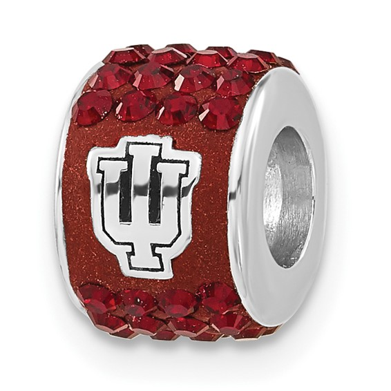 Sterling Silver Indiana University Premier Crystal Bead
