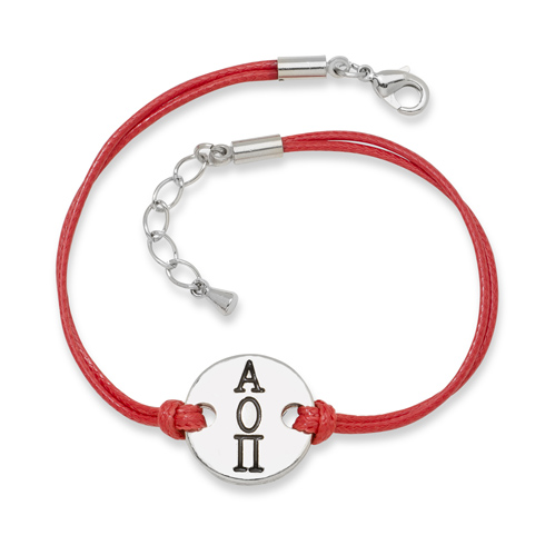 Alpha Omicron Pi Alloy Disc Bracelet