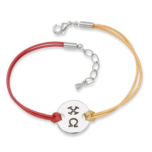 Chi Omega Alloy Disc Bracelet