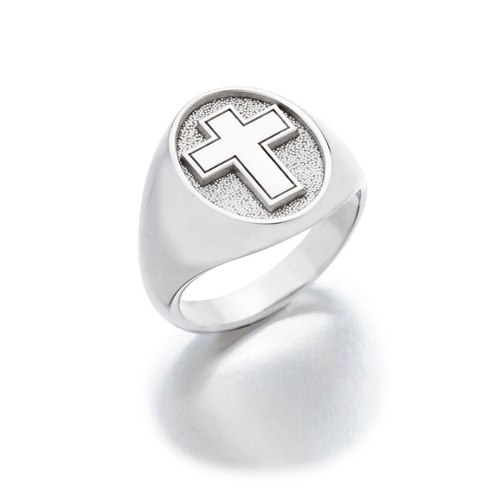 Sterling Silver Oval Signet Cross Ring with Satin Finish
