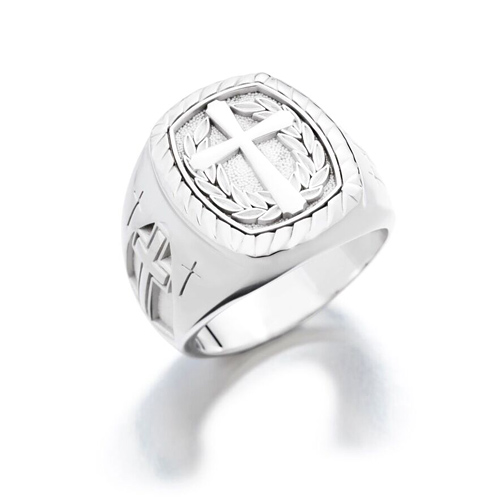 Sterling Silver Signet Cross Ring with Wreath Design