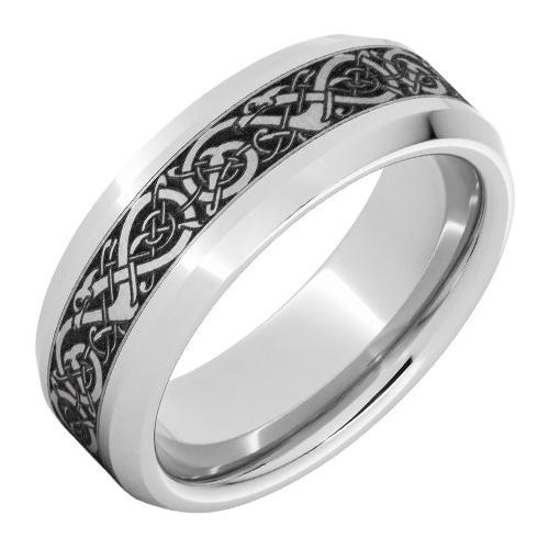 Titanium 8mm Beveled Viking Ring