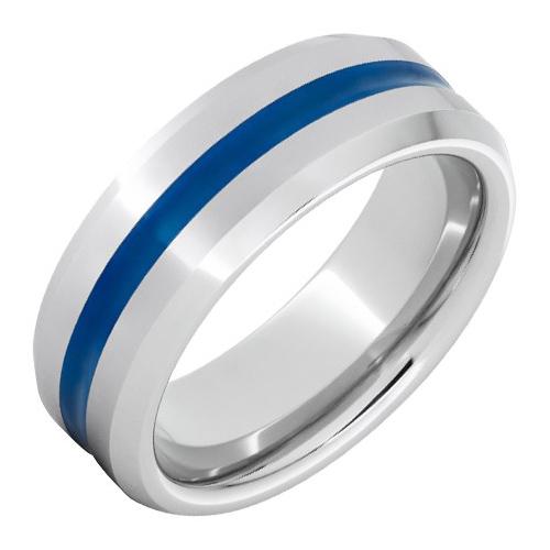 Titanium 8mm Thin Blue Line Ring with Beveled Edges