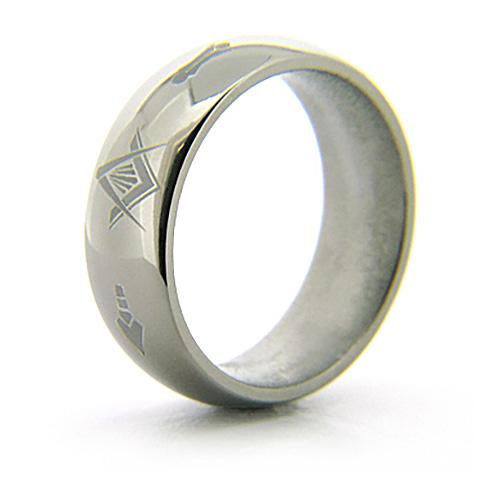 8mm Domed Titanium Masonic Ring Compass & Square, Plumb & Trowel