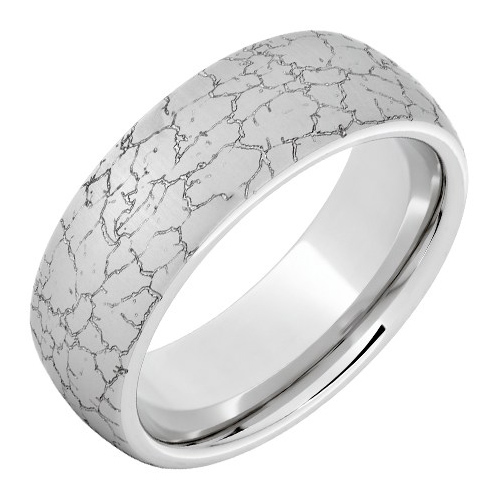 Serinium Ring with Tectonic Laser Engraving and Beveled Edges 8mm