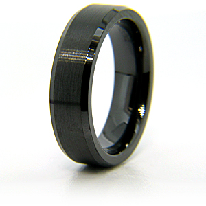 Flat Black Ceramic 6mm Ring with Satin Finish