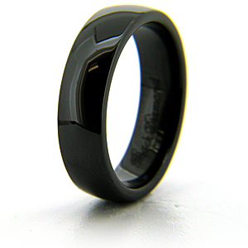 Black Ceramic 6mm Domed Ring