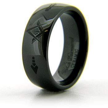 8mm Domed Black Ceramic Masonic Ring CLEARANCE SIZE 10