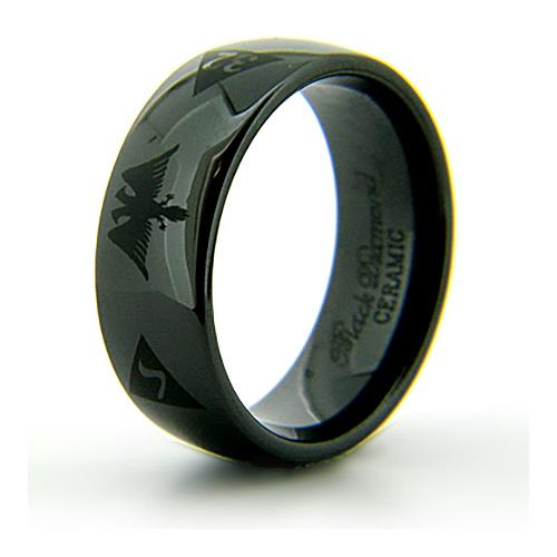 8mm Domed Black Ceramic Scottish Rite Eagle Ring