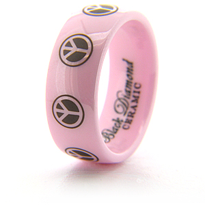 Pink Ceramic Ring with Peace Symbols 8mm