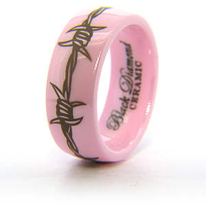 Pink Ceramic 8mm Barbwire Ring