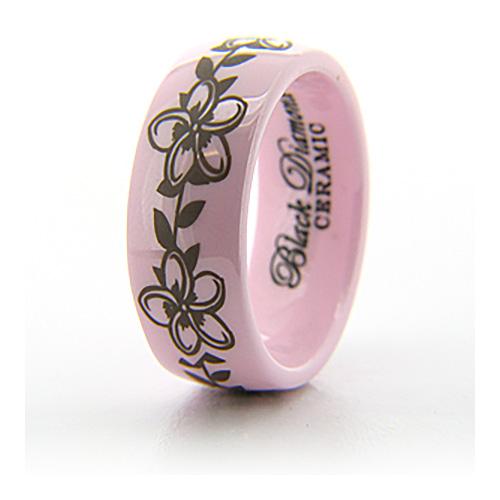 Pink Ceramic 8mm Flower Ring