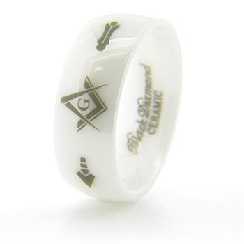 White Ceramic 8mm Masonic Ring G Compass & Square, Plumb & Trowel