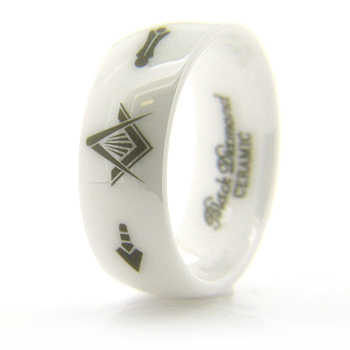 8mm Domed White Ceramic Masonic Ring Compass & Square, Plumb & Trowel